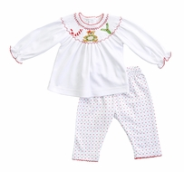 Magnolia Baby Girls Smocked Christmas Joy Pant Set