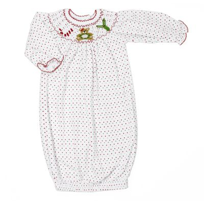 Magnolia Baby Girls Christmas Joy Smocked Bishop Gown