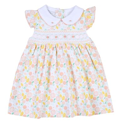 Magnolia Baby Girls Citrus Bouquet Smocked Printed Collared Flutters Dress