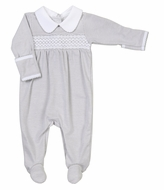 Magnolia Baby Claire and Clive's Classics Smocked Collared Footie - Silver Gray