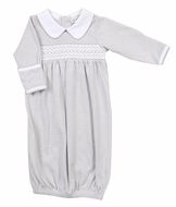 Magnolia Baby Claire and Clive's Classics Smocked Collared Gown - Silver Gray