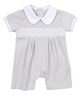 Magnolia Baby Boys Claire and Clive's Classics Smocked Collared Playsuit - Silver Gray