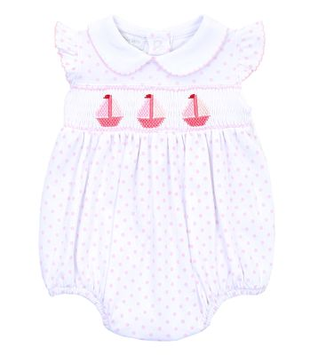 Magnolia Baby Girls Pink Dots Classic Schooner Smocked Sailboat Flutters Bubble