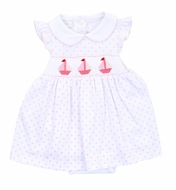 Magnolia Baby Girls Pink Dots Classic Schooner Smocked Sailboat Dress Set