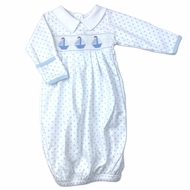 Magnolia Baby Boys Blue Classic Schooner Smocked Sailboat Gown