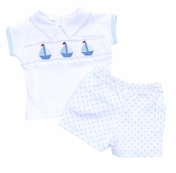Magnolia Baby Boys Blue Classic Schooner Smocked Sailboat Short Set