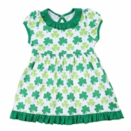 Magnolia Baby Girls Green Clover Printed Dress