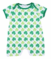Magnolia Baby Boys Green Clover Printed Short Playsuit