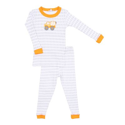 Magnolia Baby Little Boys Construction Zone Applique Truck Long Pajamas