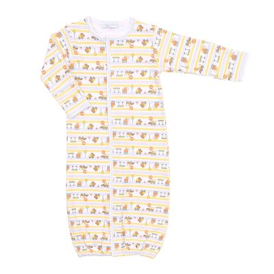 Magnolia Baby Boys Orange Construction Zone Trucks Converter Gown