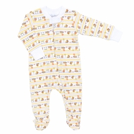 Magnolia Baby Boys Orange Construction Zone Trucks Zipped Footie