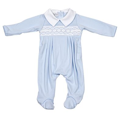 Magnolia Baby Boys Cora and Cole's Classics Smocked Footie - Blue
