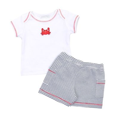 Magnolia Baby Boys Crab-ulous Embroidered Crab Short Set