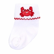 Magnolia Baby Crab-ulous Embroidered Red Crab Socks