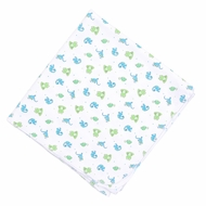Magnolia Baby Boys Blue / Green Cute Critters Printed Swaddle Blanket