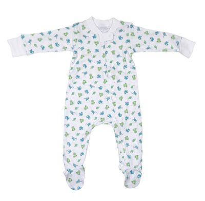 Magnolia Baby Boys Blue / Green Cute Critters Print Zip Footie