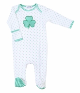 Magnolia Baby White Cutest Little Clover Applique Lap Footie