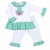 Magnolia Baby Little Girls Green Cutest Little Clover Applique Ruffle Pant Set