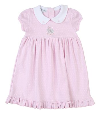 Magnolia Baby Little Girls Pink Darling Bunnies Embroidered Dress