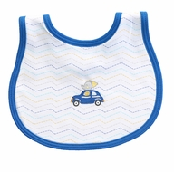 Magnolia Baby Boys Blue Zoo Car Driving Around Embroidered Bib