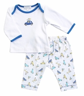 Magnolia Baby Boys Zoo Cars Driving Around Blue Pant Set