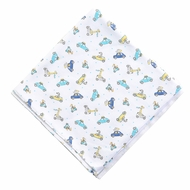 Magnolia Baby Boys Blue Zoo Cars Driving Around Printed Swaddle Blanket
