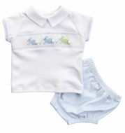 Magnolia Baby Boys Blue Easter Bunny Classics Smocked Diaper Set