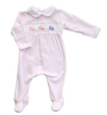 Magnolia Baby Girls Easter Bunny Classics Smocked Footie - Pink