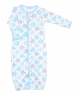 Magnolia Baby Boys Elephant Print Converter Gown - Blue