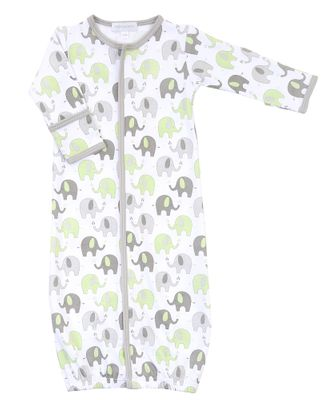 Magnolia Baby Boys / Girls Elephant Print Converter Gown - Green & Gray