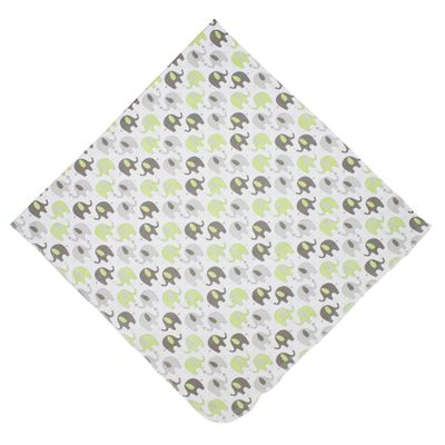 Magnolia Baby Boys / Girls Elephant Printed Swaddle Blanket - Green & Gray
