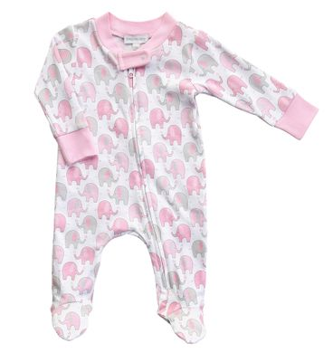 Magnolia Baby Girls Elephant Printed Zipped Footie - Pink