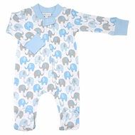 Magnolia Baby Boys Elephant Printed Zipped Footie - Blue