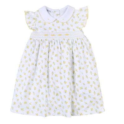 Magnolia Baby Little Girls Yellow Floral Faith's Classics Smocked Dress