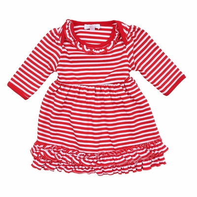 Magnolia Baby Girls Red Candy Cane Striped Christmas Dress Set