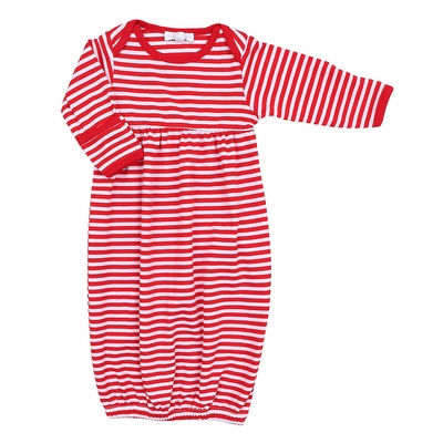 Magnolia Baby Boys / Girls Red Candy Cane Striped Pleated Gown