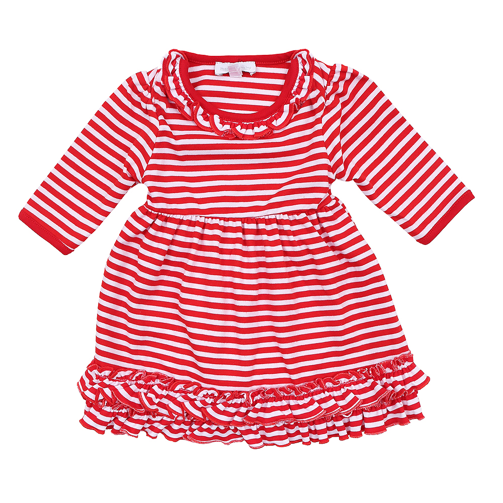 Magnolia Baby Little Girls Red Candy Cane Striped Christmas Dress