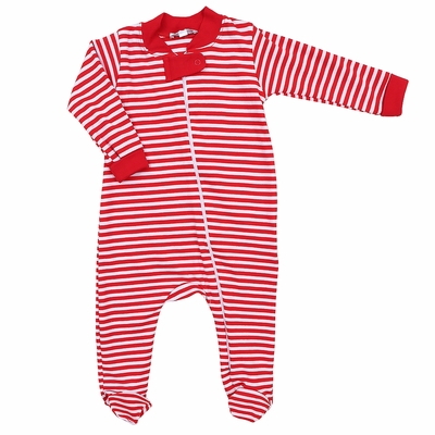 Magnolia Baby Boys / Girls Red Candy Cane Striped Zipped Footie