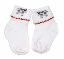Magnolia Baby Farmland Embroidered Cow Socks