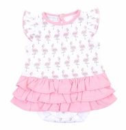 Magnolia Baby Girls Pink Flamingo Printed Flutters Ruffle Bubble