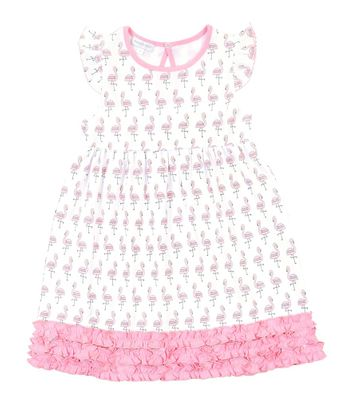 Magnolia Baby Little Girls Pink Flamingo Printed Ruffle Dress
