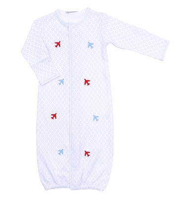 Magnolia Baby Boys Fly Zone Scattered Airplane Embroidered Converter Gown