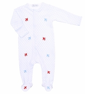 Magnolia Baby Boys Fly Zone Scattered Airplane Embroidery Footie