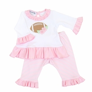 Magnolia Baby Girls Pink Football Fan Applique Ruffle Pant Set