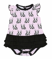 Magnolia Baby Girls Pink / Black French Bulldogs Flutters Ruffle Bubble