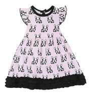 Magnolia Baby Little Girls Pink / Black French Bulldogs Ruffle Dress