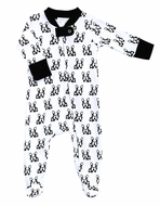Magnolia Baby Boys / Girls White / Black French Bulldogs Zipped Footie