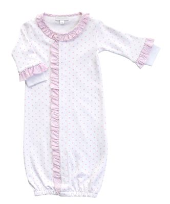 Magnolia Baby Girls Pink Gingham Dots Spring Ruffle Converter Gown