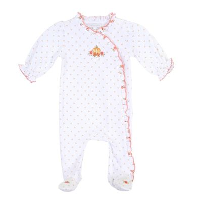Magnolia Baby Girls Autumn's Classics Embroidered Pumpkin Ruffle Cross-Over Footie