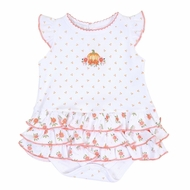 Magnolia Baby Girls Autumn's Classics Embroidered Pumpkin Ruffle Flutters Bubble